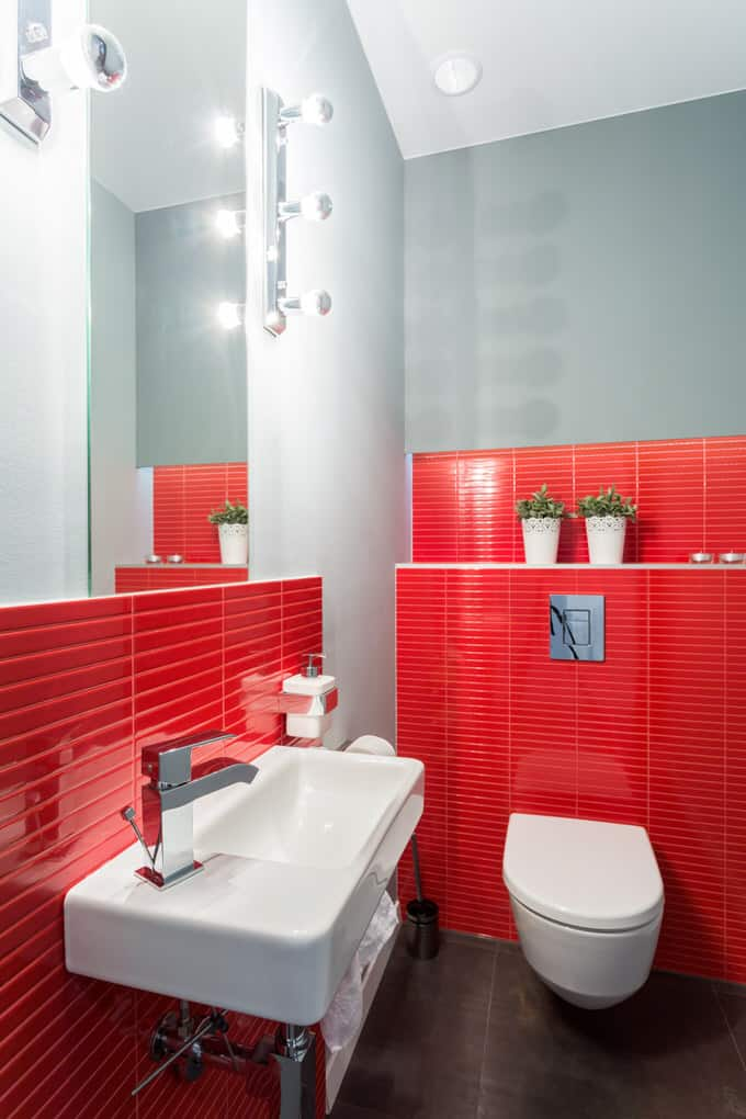In This Tiny Bathroom, Red Pops Against The Dark Floor, White Fixtures And  Gray Painted Walls. If You Attempt This In Your Bathroom, Remember These  Basic ...