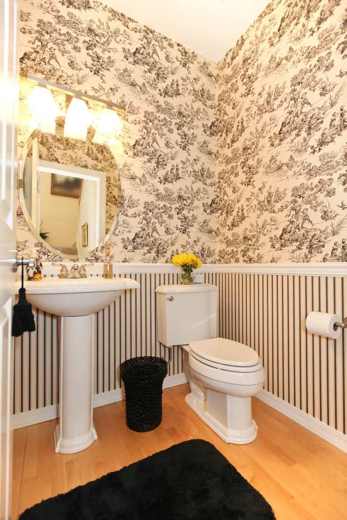 This Black And White Toile And Striped Wall Treatment Is Just What This  Little Powder Room Needed.