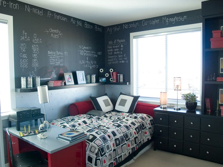Black paint can be just the right addition to a bedroomeven for a  teenager. Follow the lead of this homeowner and use chalkboard paint on the  upper half of ...