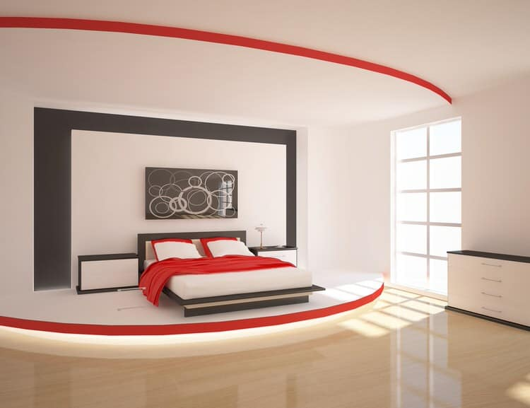 A Stage Like Platform Adds Modern Luxury To This Red And Black Bedroom. The  Layered Paint Treatment On The Headboard Wall And Accents Of Red And Black  ...