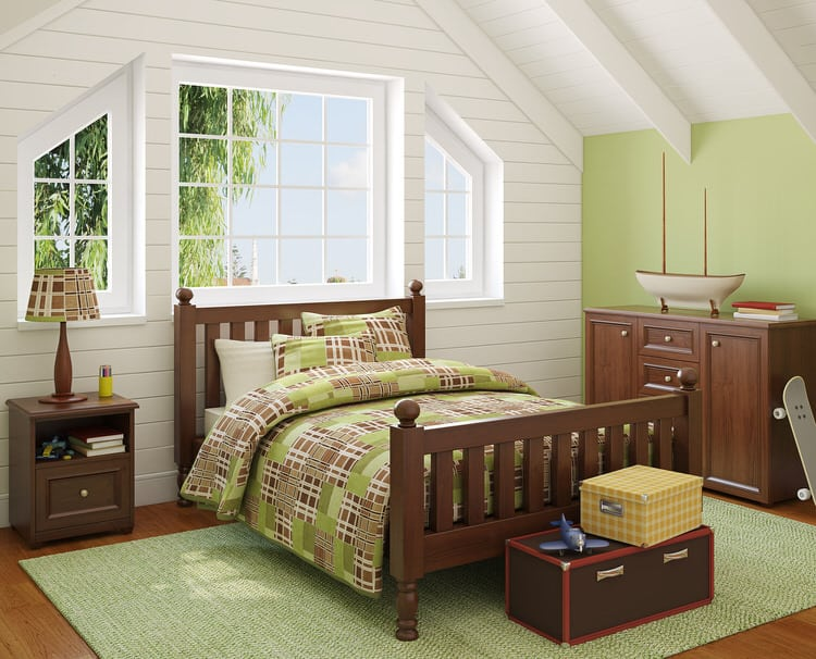 The green wall color complements the playful patchwork quilt and area rug  that anchors the bedroom. 41 Unique Bedroom Color Ideas   InteriorCharm