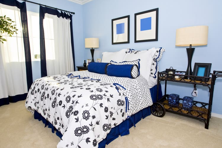 walls creates the perfect and anything but childlike canvas just ready  for a dose of graphic pattern  Black and white bedding with sapphire blue  accents. 41 Unique Bedroom Color Ideas   InteriorCharm