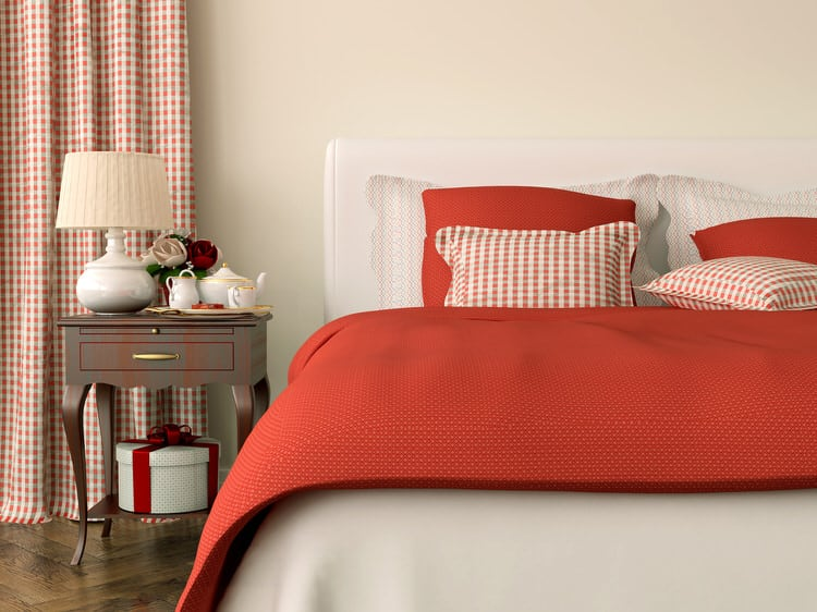 Be Bold And Introduce A Single Splash Of Color To A Tailored, Neutral Room.  Here, Red Bedding And Gingham Curtain Panels Handle The Job And Transform  This ...