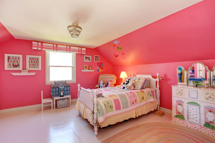 Creativity thrives in the bright pink bedroom  The dresser vanity is  painted in fanciful scenes and the dollhouse is just waiting for a junior  interior. 50 Colorful Kids Bedroom Ideas   InteriorCharm