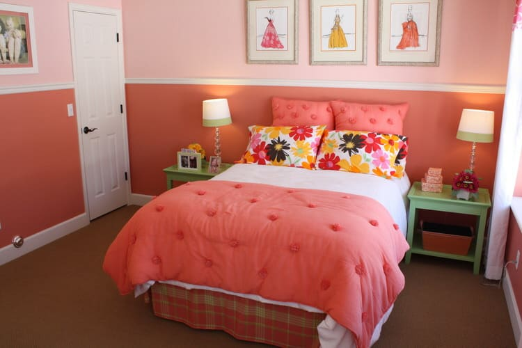 My how time flies  Give her a room combining comfort  color and high style   The orange two tone wall effect is the ideal backdrop for. 50 Colorful Kids Bedroom Ideas   InteriorCharm