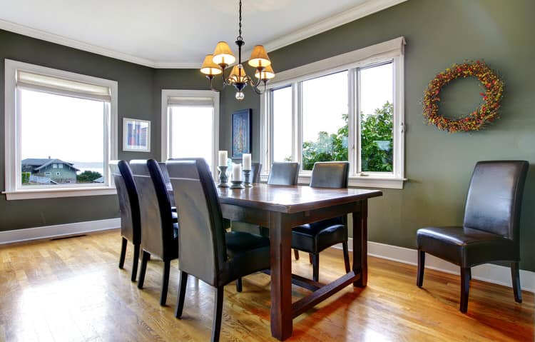 Natural light helps give a dining room an undeniable appeal  The deep sage  green on the walls enhances the effect  The leather parsons chairs. 43 Stylish Dining Room Decorating Ideas   InteriorCharm