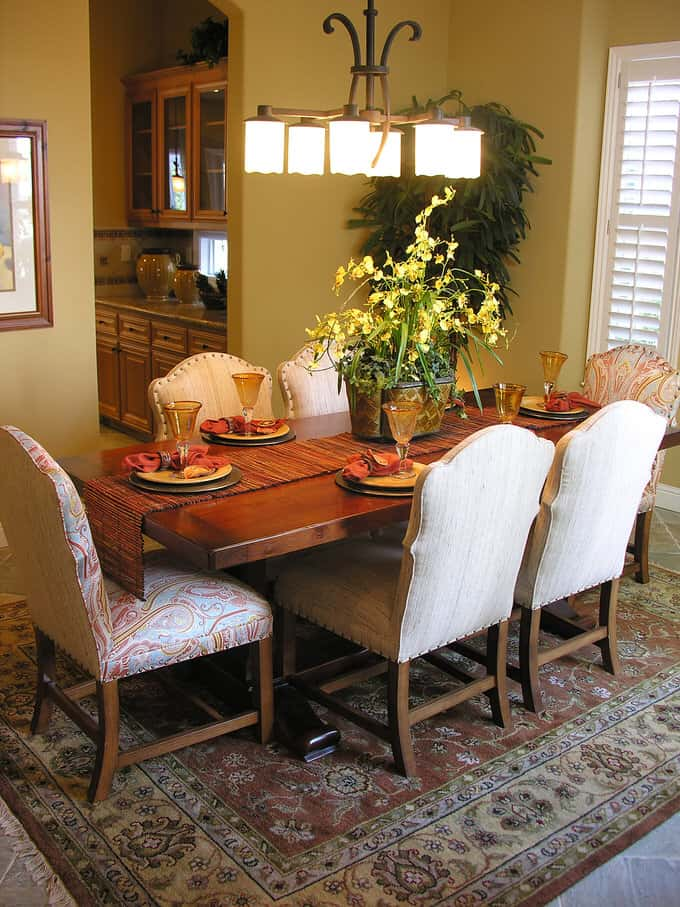 This Dining Room Is A Lesson On Creating Depth With Texture Try It In Your Own Home By Mixing Different Types Of Fabrics Here The Upholstered