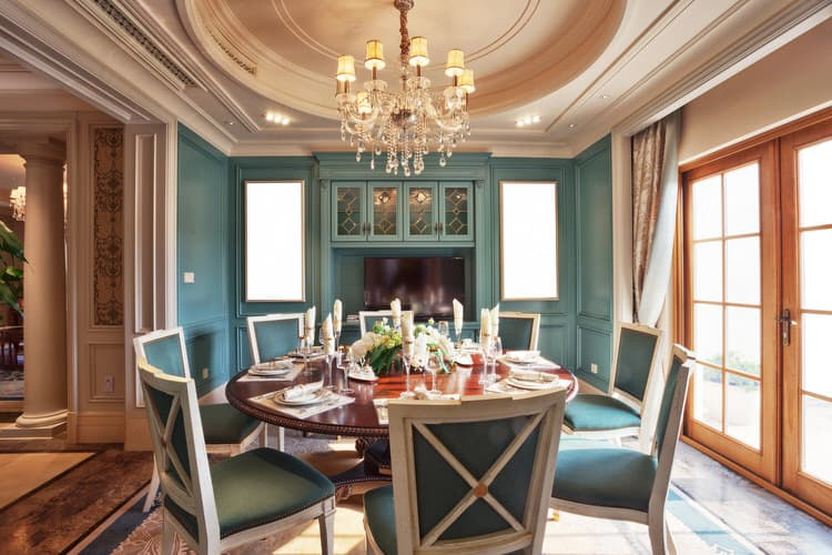 This Commanding Dining Room Features Teal Blue On The Walls Painted Hutch And Upholstery White Chairs Contrast With Saturated Lend A