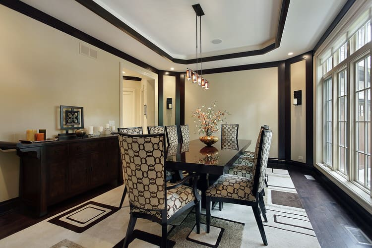 A Touch Of Pattern In Any Dining Room Can Help Brighten The Space Along With Wall Windows Geometric Patterns On Light Upholstery