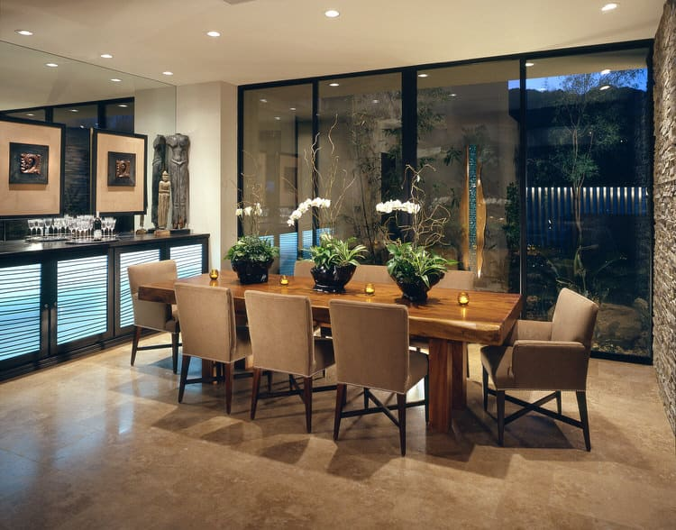 A View To The Courtyard Gives This Contemporary Dining Room An Indoor Outdoor Vibe Organic Elements Like Substantial Cypress Table Stone Wall And
