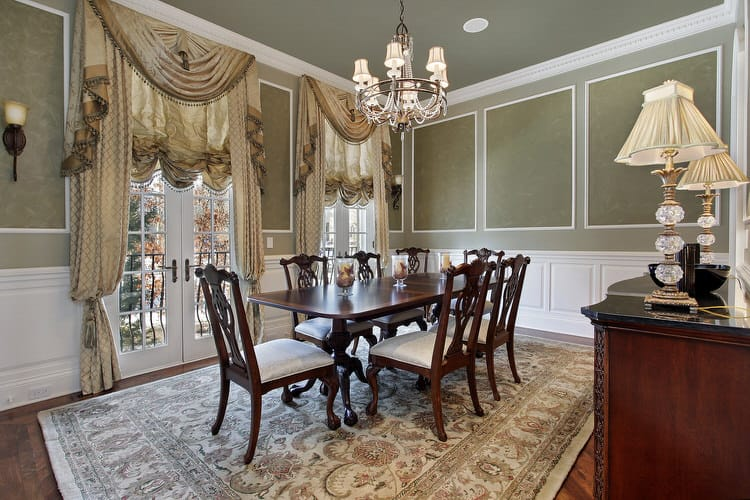 Soothing Sage Is The Predominate Color In This Traditional And Very Formal Dining Room Green Ceiling Elegant Chandelier Add Character Visually