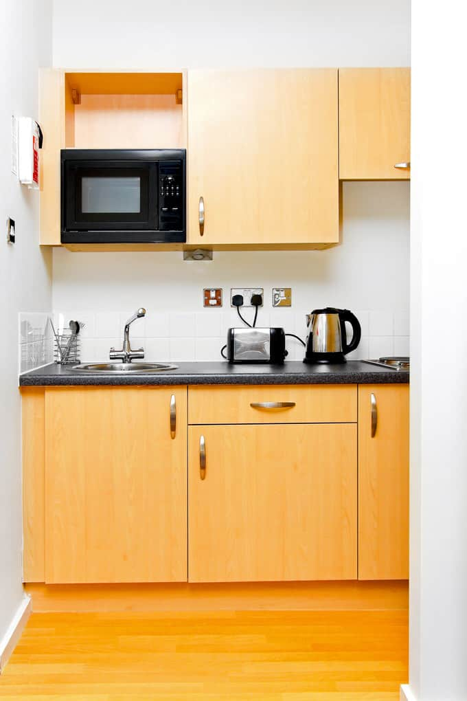 This Petite Kitchen Is Not Exactly A Good Example Of Open Concept Living However It Quite Functional And Cheery For Basement Apartment
