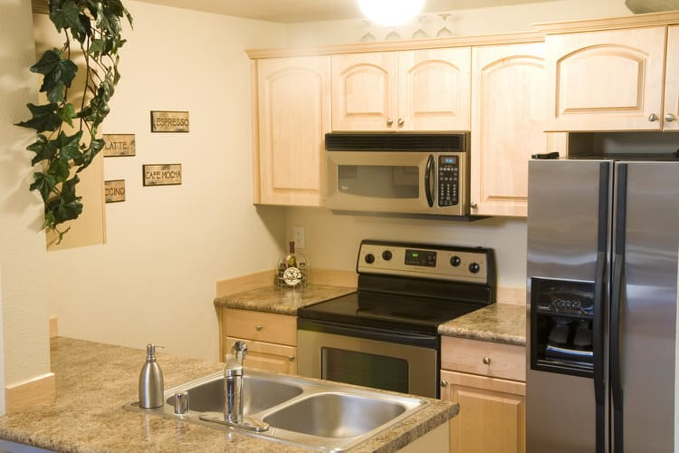 nice Small Apartment Kitchen Appliances #9: Here is a typical studio apartment kitchen layout in Anytown, USA. The use  of full-size appliances and a double sink definitely diminish counter and  storage ...