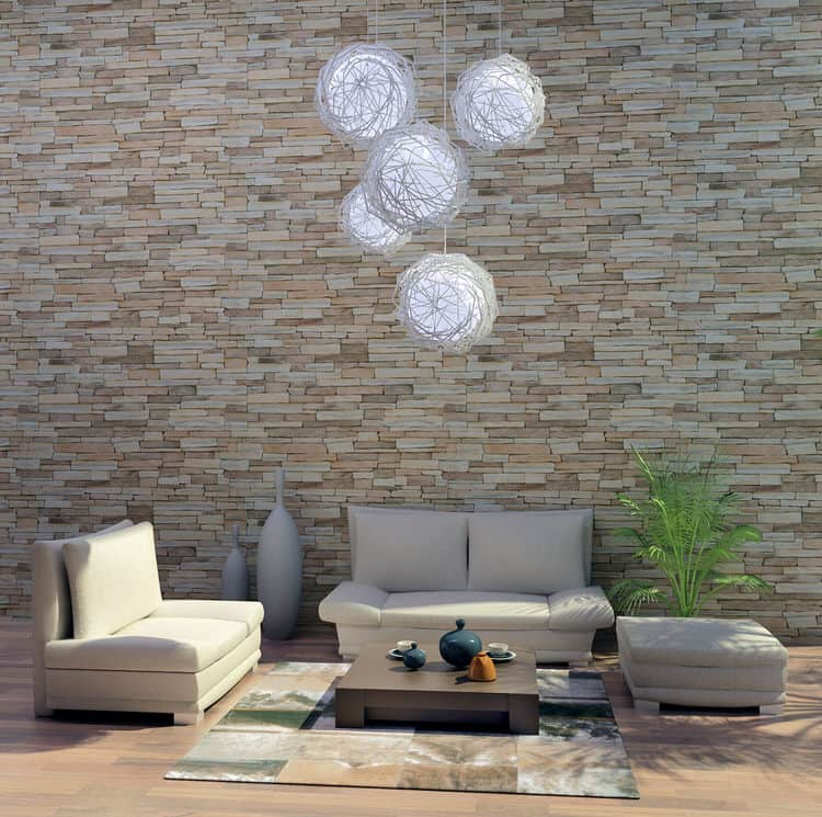30 gorgeous living rooms with stone walls interiorcharm for Stone wallpaper for living room