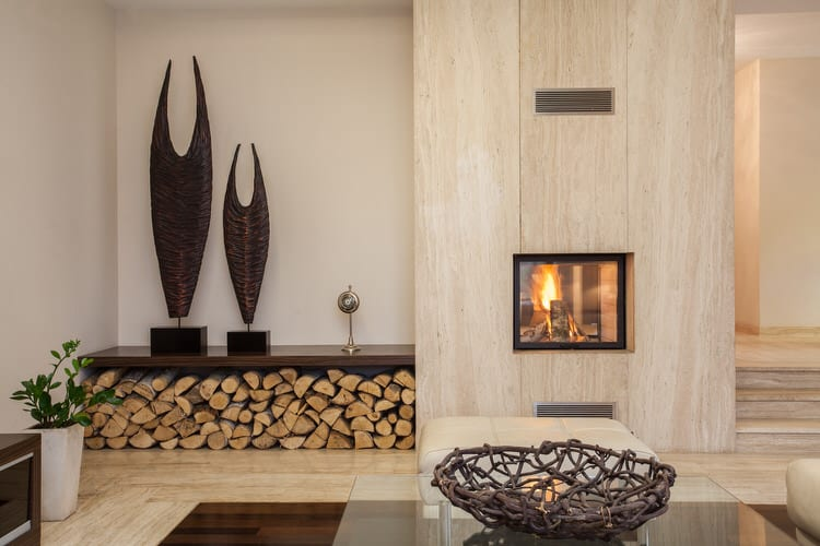 The Quintessential Modern Living Room Would Be Remiss Without A Dramatic Solid Slab Fireplace It Is An Excellent Way To Show Off Natural Color And