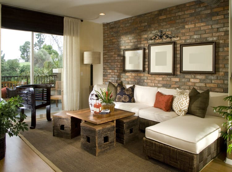 A Living Room Stone Wall Goes With Almost Any Décor Style If You Choose The  Right Material. In This Space, The Uniform Look Of Brick Looks Great In  This ...