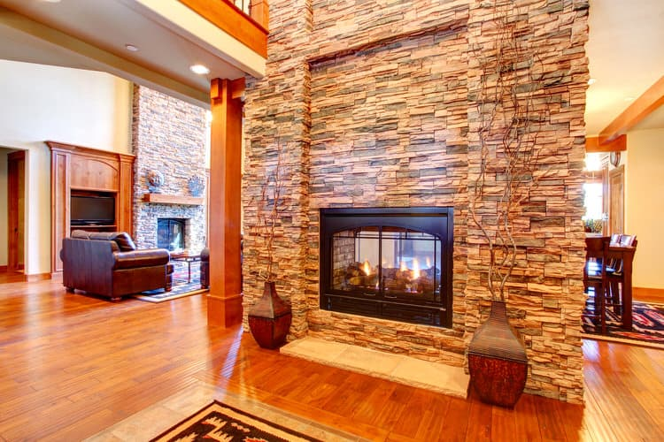Living Room With Stone Fireplace 30 gorgeous living rooms with stone walls | interiorcharm