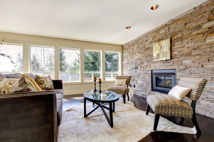30 Gorgeous Living Rooms With Stone Walls InteriorCharm
