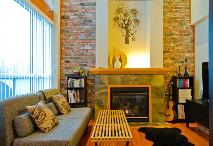 Brick Has Been Popular For Decades And Is Featured In A Variety Of Residential Styles This Contemporary Living Room
