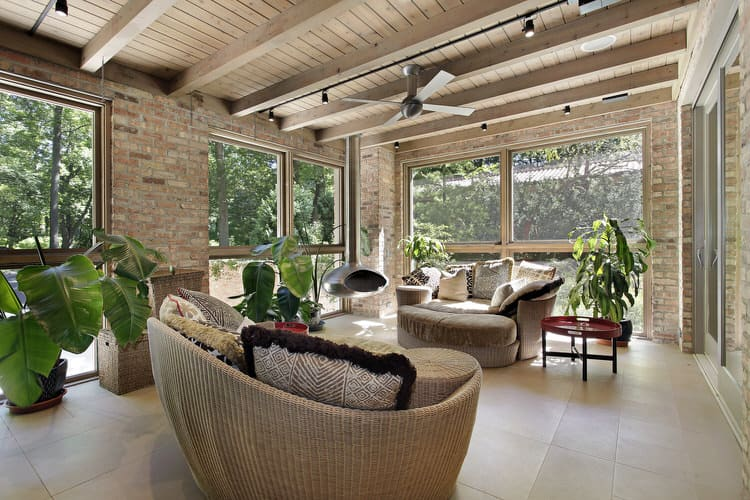 contemporary sunroom furniture. get ready to relax in this fourseason sunroom a contemporary ceiling fan cools you off summer while the sleek and modern mounted fireplace furniture