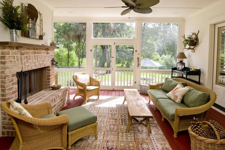Put Your Feet Up And Enjoy Whatever The Day May Send Your Way In This Four Season  Sunroom. The Large Fireplace Anchors The Room And Provides Heat On Chilly  ...