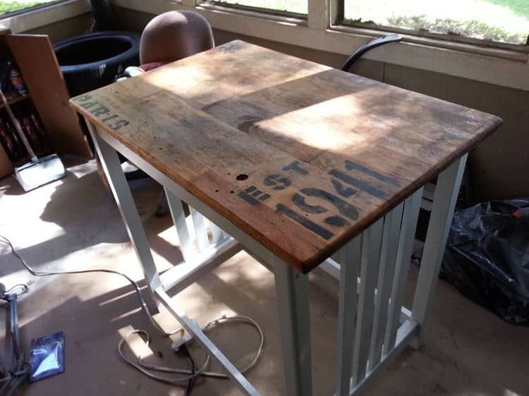This antique style table or kitchen island is a marvelous way to add fantastic personality to your space. Whether you use this as an extra coffee table or as a kitchen island, this project will amp up your space with charming character.