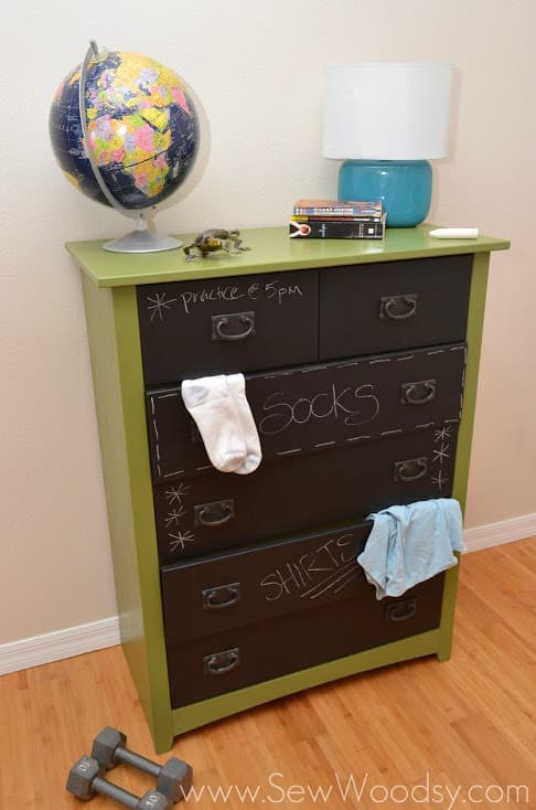 A chalkboard dresser is a great way to let children take ownership over their own organization as well as cultivate their creative side. They can sketch and draw on this dresser, honing in their artistic talents.