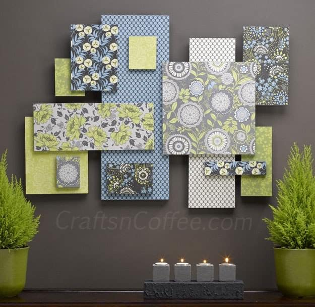To add color depth and patterns to your walls you may use this wall art concept. Employ a variety of patterns and colors to create a contrasting palette that can be used in other aspects of your design. Customize this design to your liking.