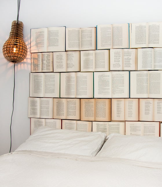 If you are an avid reader, you may wish to be surrounded by your favorite stories at all times. With this amazing DIY project you can sleep with your head in a book! Display your literary side with this book headboard.