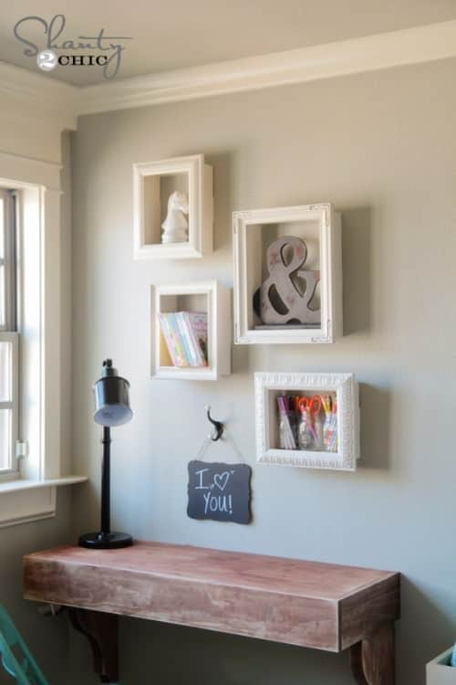 Here is a project that takes picture frames and turns them into interesting wall shelves. Your shelves will have a great appeal with the addition of picture frames. It really makes your shelves and the items on them pop and draw attention.
