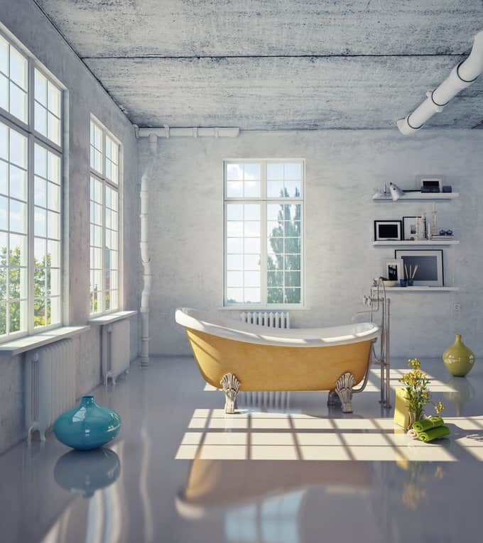 The Juxtaposition Of The Bright Yellow Clawfoot Tub And Whitewashed  Concrete Walls And Ceiling Is Sheer Genius. This Striking Bathroom Design  May Be Sparse ...
