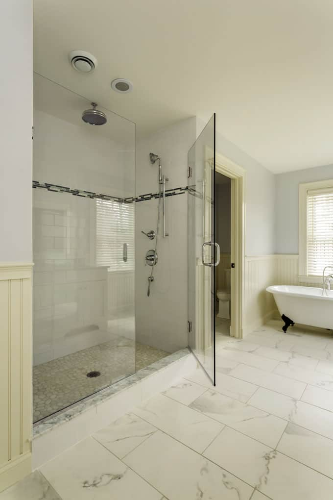 This Bathroom Successfully Merges The Traditional With The Glamorous. The  Marble Floor Is Beautiful As Is The Large Walk In Shower With Rainfall  Showerhead ...