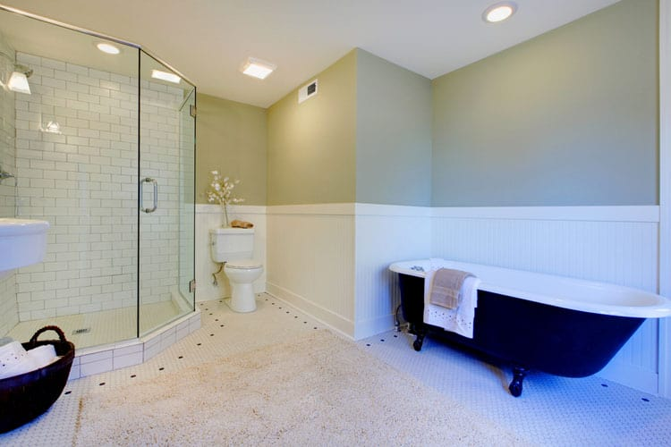This Bathroom Serves Up Classic And Clean Style. The Showeru0027s Large Glass  Doors Showcase The Showeru0027s White Subway Tile Which Is An Ideal Complement  To The ...
