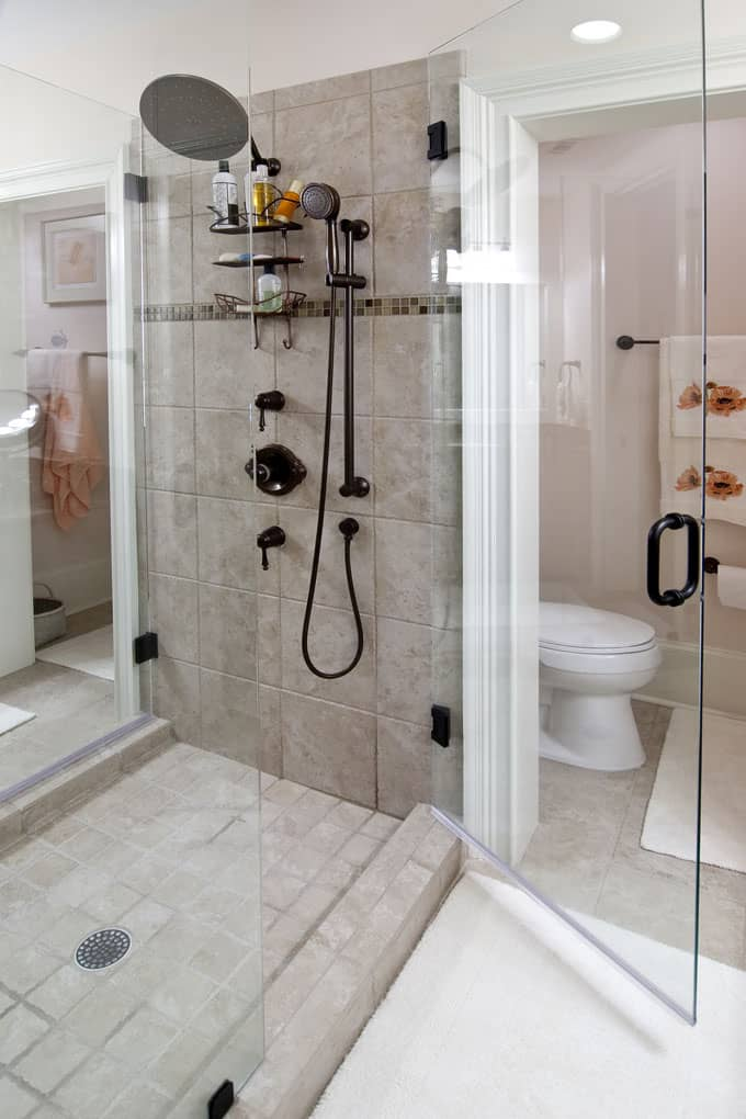 behold this unique shower which is bravely positioned in the middle of the bathroom glass walls on either side of the shower do make the bathroom seem - In The Bathroom