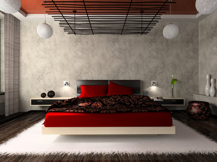 Create A Red And Black Look That Is Sleek Dramatic With High Impact Ceiling Effect Sculptural Lighting In This Bedroom The Designer Went An