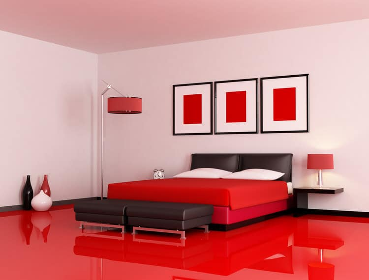 A Coat Of White Paint Gave Them An Updated Look That Works Perfectly In The Red And Black Themed Bedroom