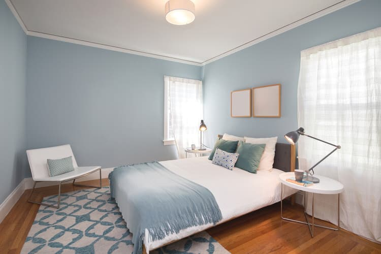 If You Are Looking To Make An Eye Catching Statement Pick A Single Color And Use It Throughout The Bedroom Shade In This E Is Icy Blue