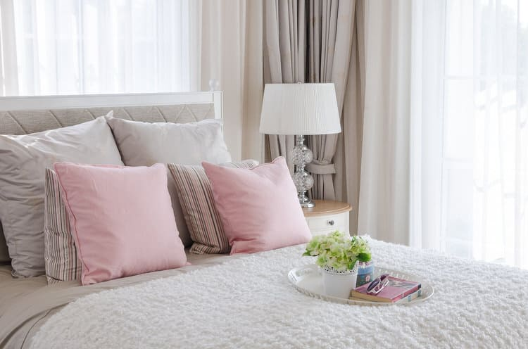 This Bedroom Is Pretty In Soft Pink And Neutrals Virtually All Of The Surfaces Fabrics Are Done Soothing Neutral Shades From White Sheers To