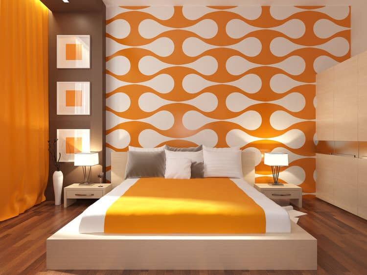 Spicy Hot Orange Adds A Sense Of Energy And Urgency To This Master Bedroom  In Miami. The Custom Wall Design Was Specially Commissioned For The Space.