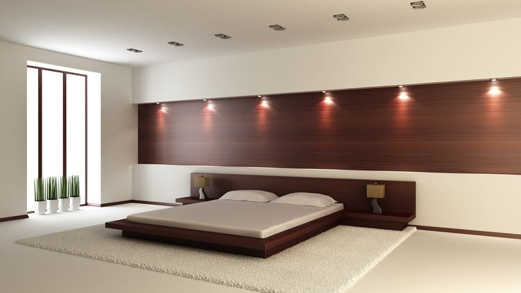 This Cool Bedroom Is A Combination Of Simplicity And Modern Technology. The  Exotic Wood Paneling On The Back Wall Is A Celebration Of Luxury.