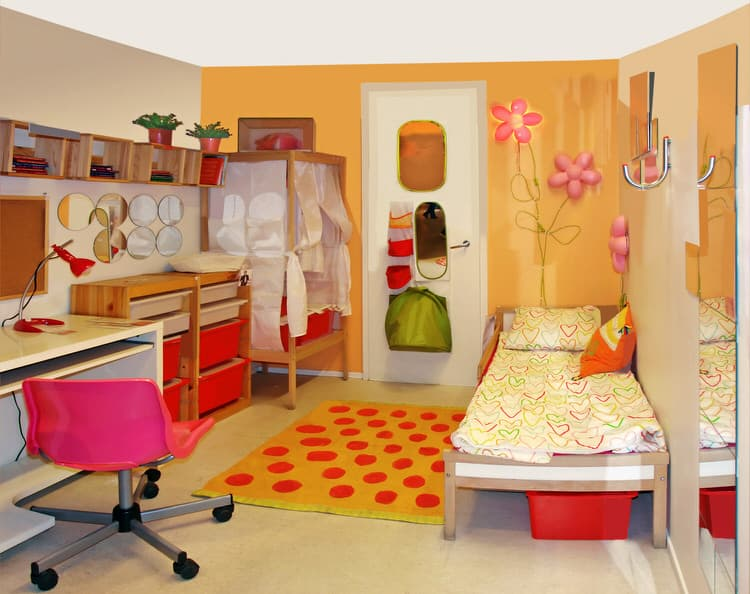 if space is tight in your little ones bedroom try moving the bed against a wall with the bed safely out of the way therell be plenty of space to play on