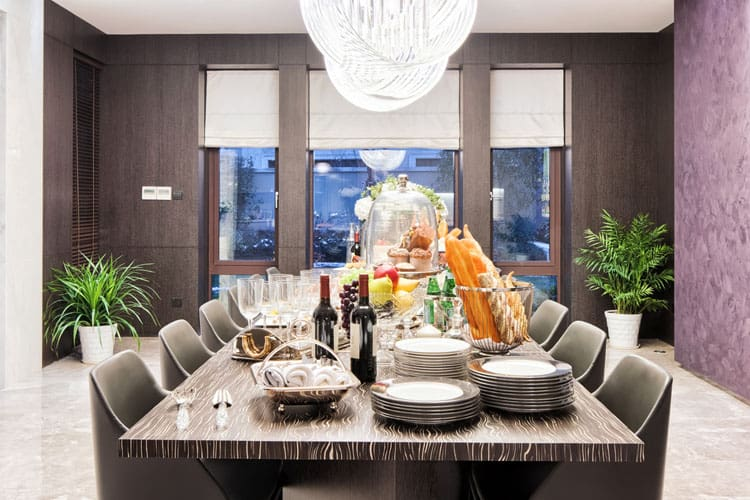 Rather Than Going Light And Bright In A Modern Dining Room, Why Not Try  Darker, Cozier Colors? Rich Colors Like The Purple Wall And Walnut Paneling  Give The ...