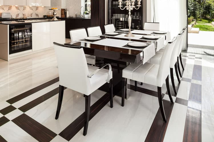 This Black And White Beauty Just Got A Little More Dramatic Thanks To An  Incredible Floor Pattern. Graphic Touches Like This Can Take A Modern  Dining Room ...