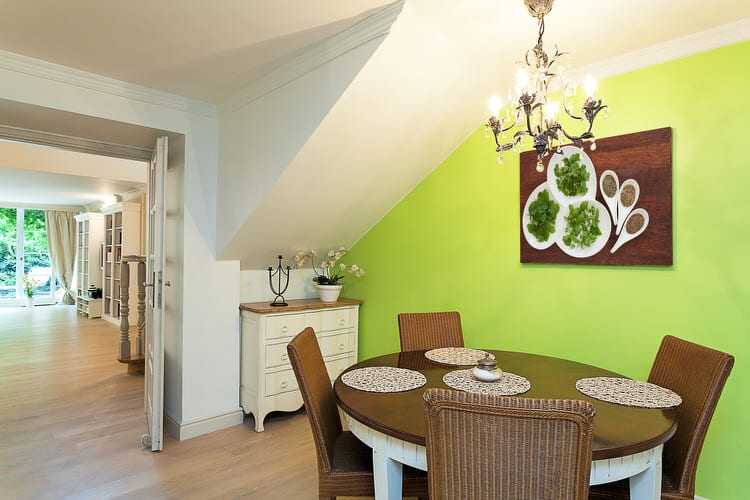 This Oddly Shaped Dining Room E Needed Some Help To Overcome Its Angles The Vibrant Lime Green Shade Took A Whole New Level