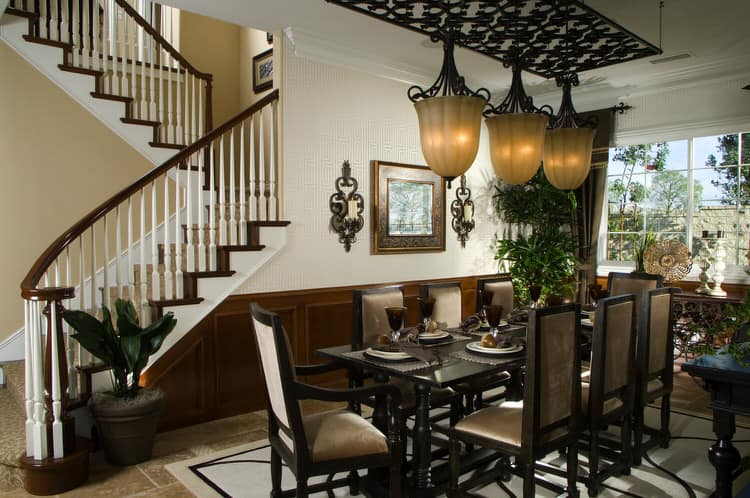 Brown Wainscoting Against White Walls Provides A Nice Contrast For This  Open Plan Dining Space The Upholstered Chairs Add Contemporary Touch To The Room 35 Elegant Dining Room Designs Pictures