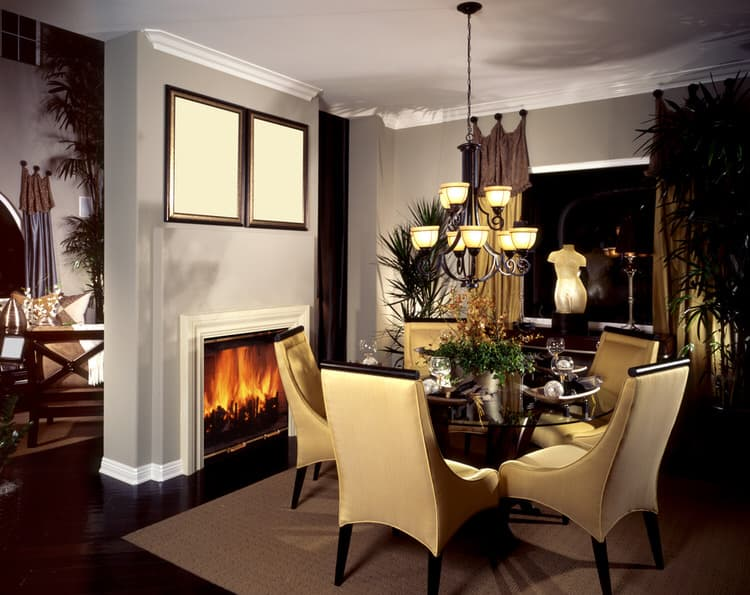 Nothing Adds Warmth To A Dining Room Like A Fireplace. This Cozy Dining  Features A Round Table, Which Is Best For A Room With Limited Square  Footage.