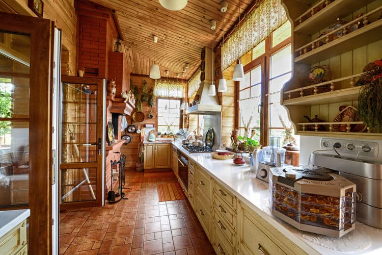 From Its Exposed Wood Ceiling And French Terra Cotta Tile Floor, This  Beautiful Country Kitchen Still Retains Much Of Its Historic Features And  Charm.