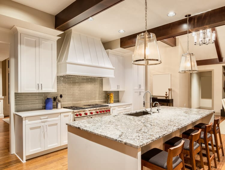 ... This Beautiful Country Kitchen Still Retains Much Of Its Historic  Features And Charm. Contemporary Pendant Lighting, Quartz Countertops And  Stainless ...
