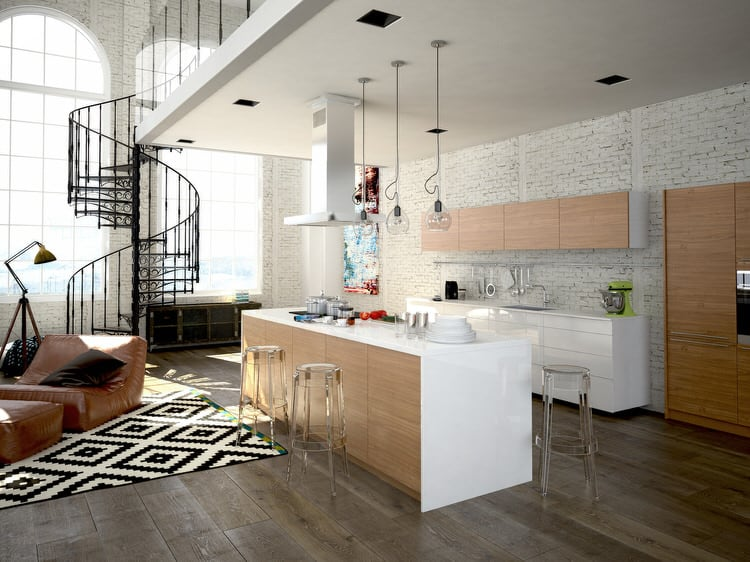 Beau This Contemporary Kitchen Plays Off Of A Variety Of Textures And Neutrals  To Create A Warm, Lived In Look. The Graphic Pattern Of The Black And White  Area ...