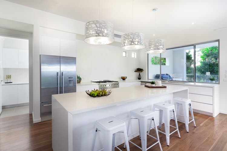 tile floor kitchen white cabinets. Funky Cutout Drum Pendants And Enamel Bar Stools Are The Types Of Fun  Accessories That Breathe Life Into A Plain White Kitchen The Oversized Window Above 49 Wonderful White Bright Kitchens Pictures
